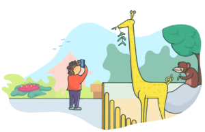 Cartoon image of a student taking a photo with their phone at the zoo.