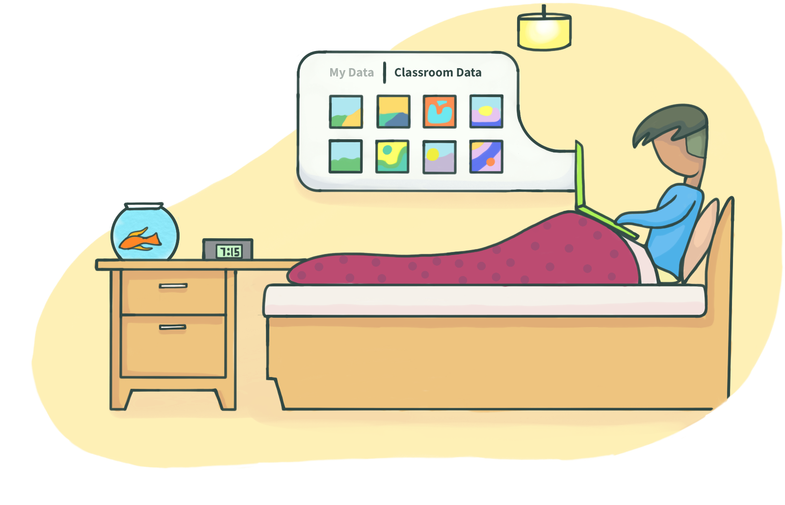 Drawing of learner on bed with laptop