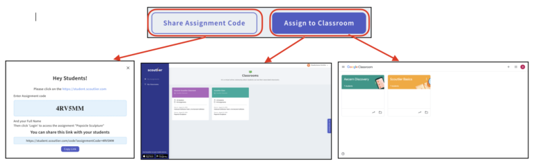 Showing pathways on how to share assignments with students